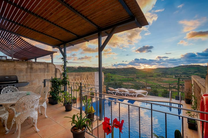 Pool Area with Barbecue Facilities Overlooking Valley and Sea Views