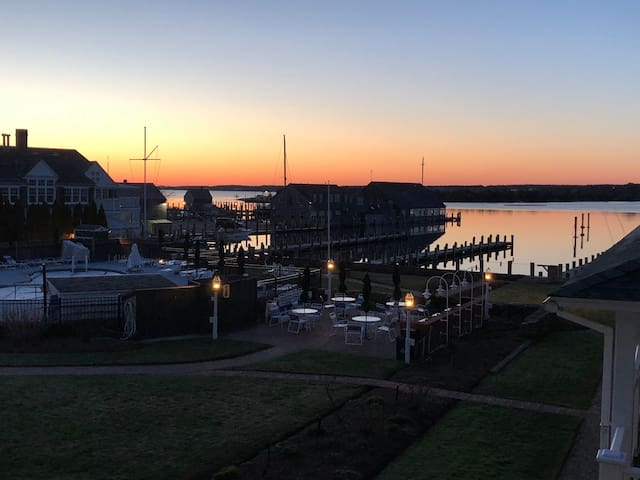Edgartown center…Sunrise on balcony.. Harbor View