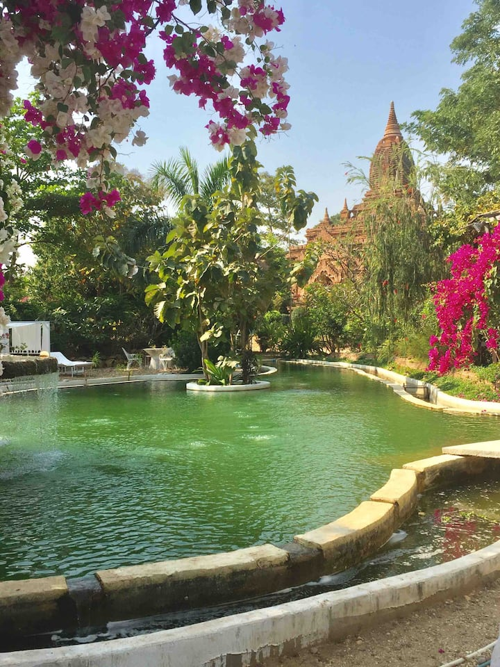Bagan No hotel private house riverside with pool