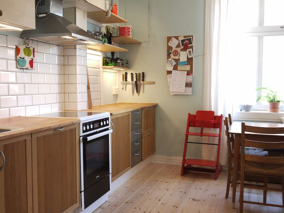 Lots of bench space in the kitchen. The kitchen is fully equipped with  dishwasher, fridge and freezer, basic food equipment (salt, pepper, oil etc.) coffee press and much more.