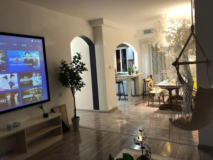 Ag世茂商业中心,北欧浪漫素色设计,百寸投影,开放式厨房吧台,可做饭,网红吊床,让您尊享美好时光