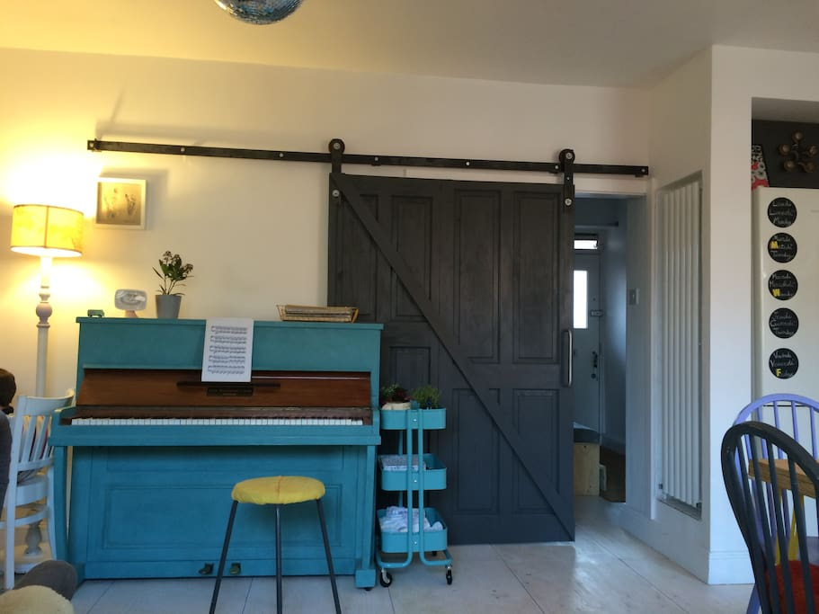 Our Lounge with Barn Door and Piano