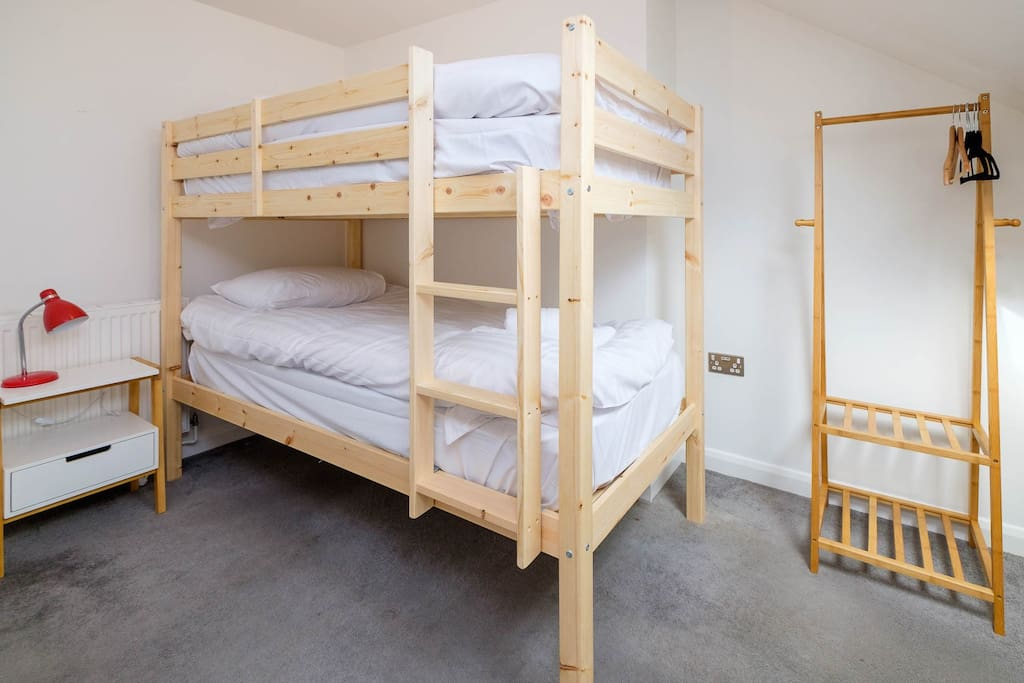 Bedroom 2 has full size single bunk beds