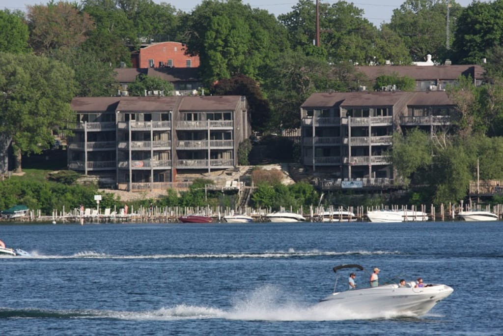 View of condominium from the lake