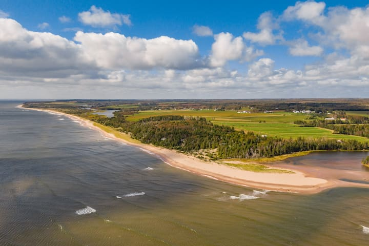 """A quick 5 minute stroll down the lane will bring you to an incredible, huge, white sand beach. The sand will """"sing"""" the same as Basin Head! You could walk one way down the beach for over an hour if you wanted."""