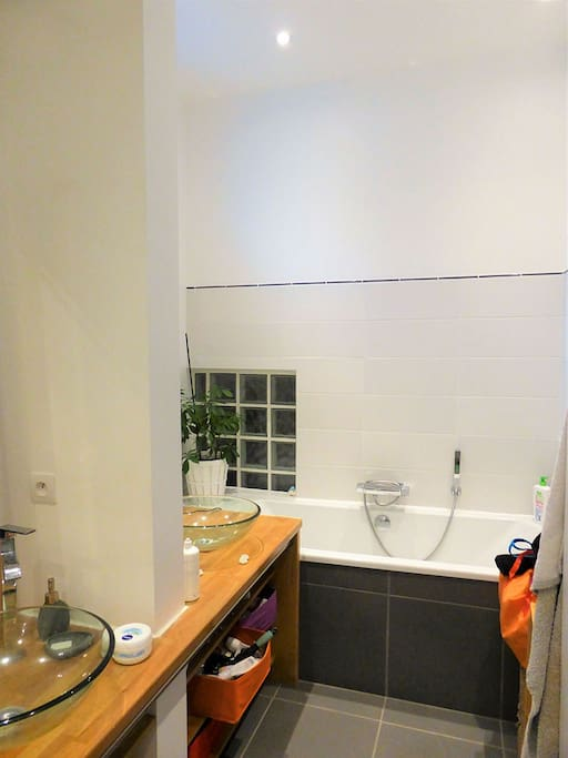 Salle de bains avec douche, baignoire et double vasque.