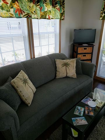 Comfortable couch in the living room.