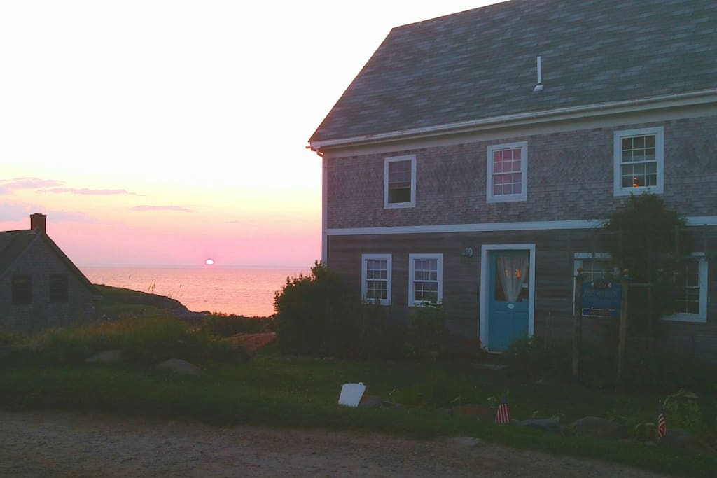 Sunset on Monhegan drops out of sight to ready the blanket of stars over the island.