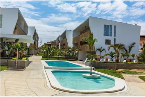 Zorritos Voll ausgestattete Strandwohnung. WLAN