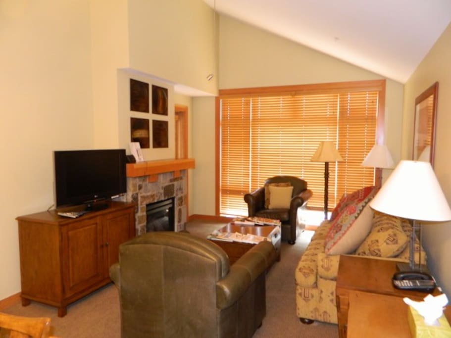 Large open Penthouse living room with high ceilings HD tv, fireplace, pullout queen sleeper sofa and balcony.
