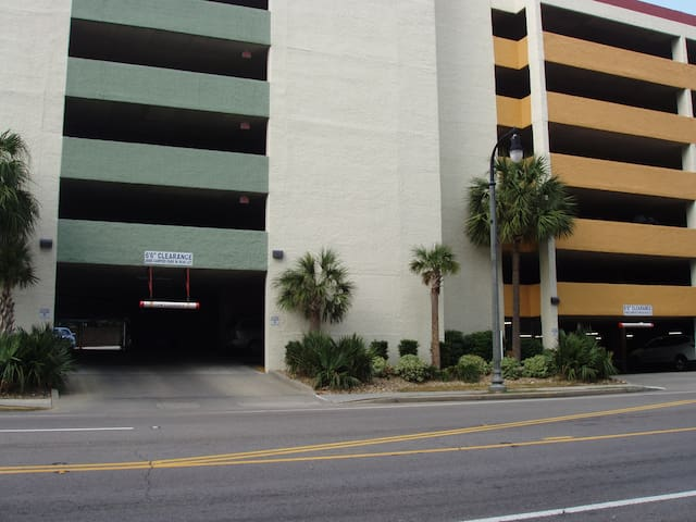 Parking is free in the covered parking garage directly across the street from the resort.