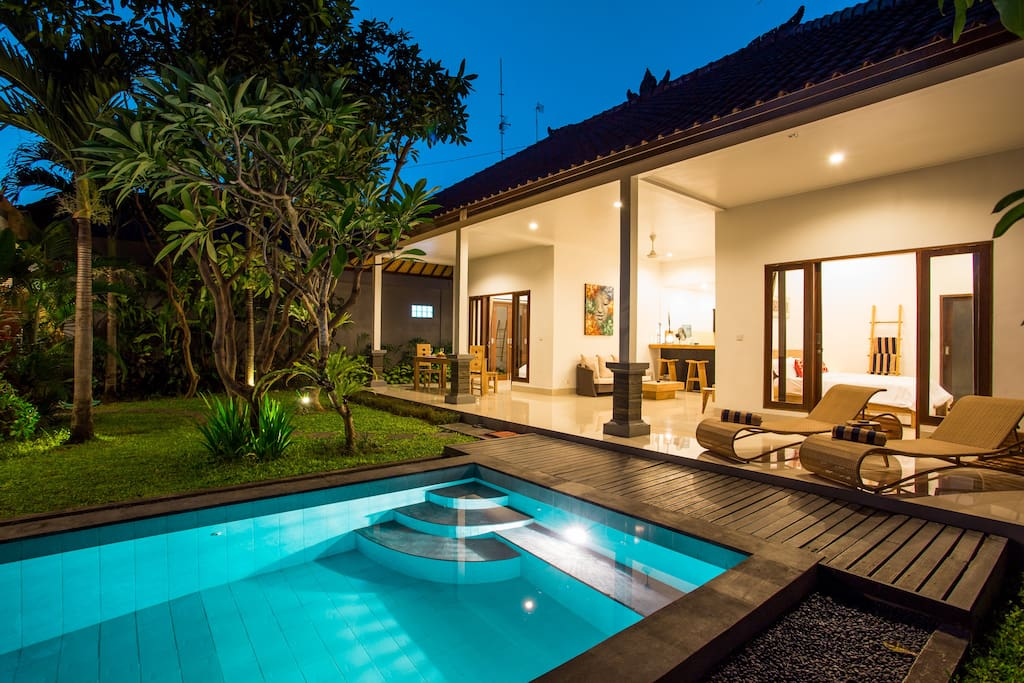Private pool with lounge chairs