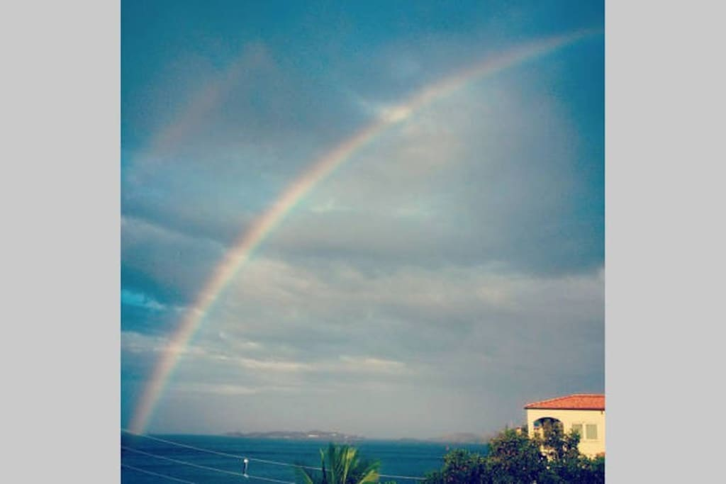 View of a morning rainbow from the balcony.