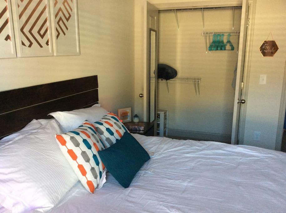 Closet space to hang clothes or store a suitcase. Small fan and extra blanket available if you are too hot or too cold.