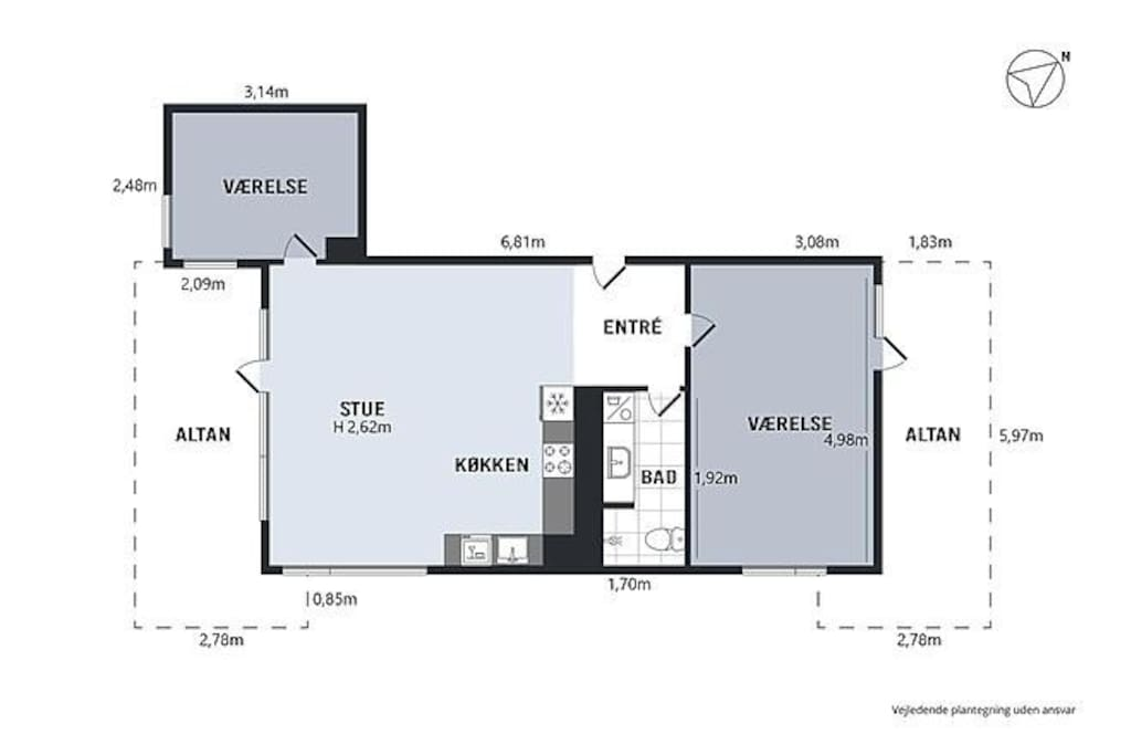 Apartment layout. Guest have the large bedroom. Notice the private terrasse.