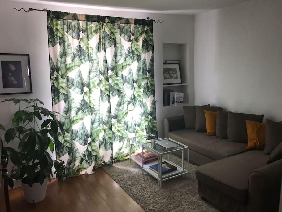 Le salon doué de canapé lit et grand écran télé