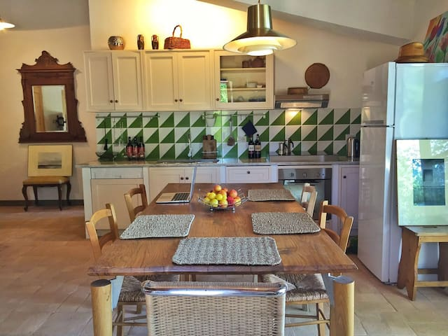 Fully equipped kitchen with dishwasher, oven, induction cooktop (4 burner), fridge, freezer, american coffee machine, electric kettle, toaster and all the equipment to cook