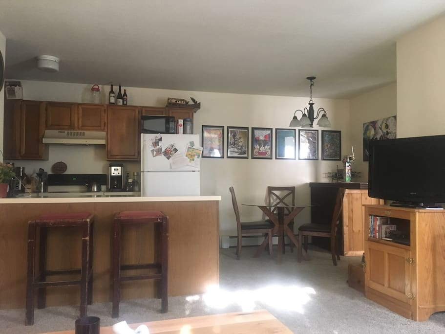 open dining and kitchen area- all cooking supplies provided