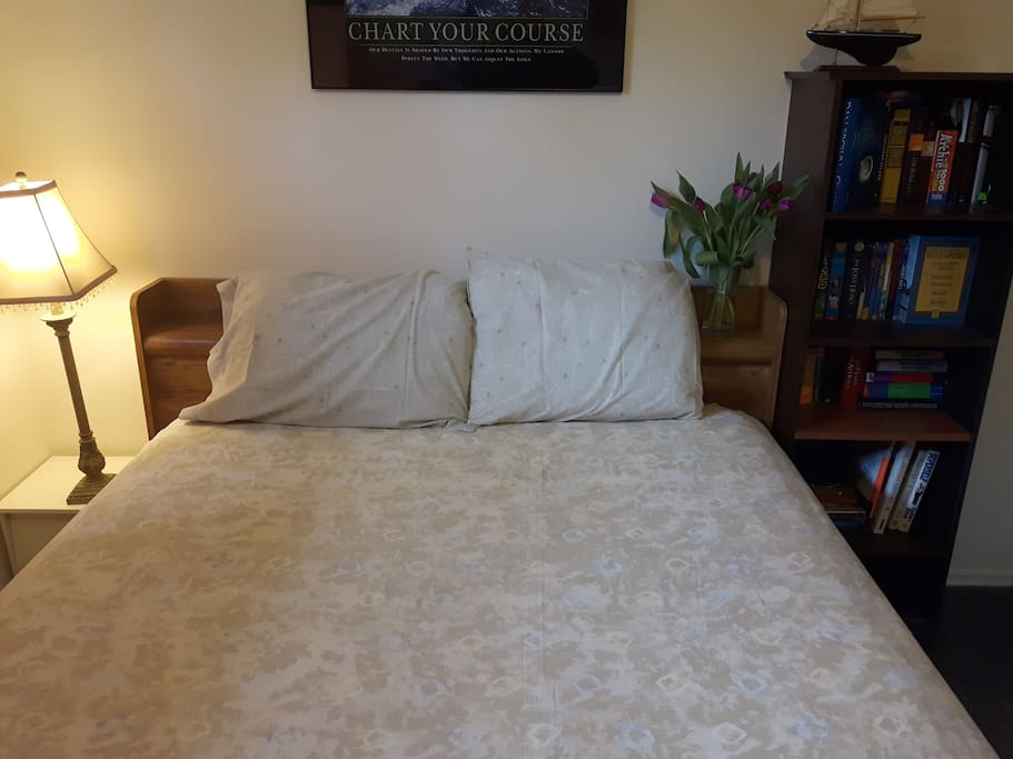 This Bedroom is spacious with a Queen size bed, larger desk station, useful for business travelers.
