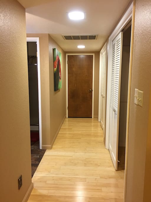 Long hallway in room, very private from rest of house