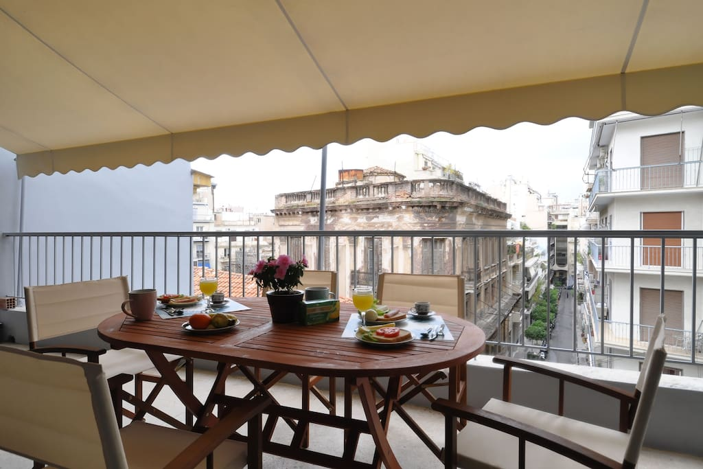 Our big private balcony is the perfect place to enjoy a delicious meal and/or a drink accompanied by the view of the streets of Plaka-the neighborhood of Gods!!!