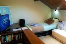 Comfortable single bed also available in your 2nd floor private guest lounge