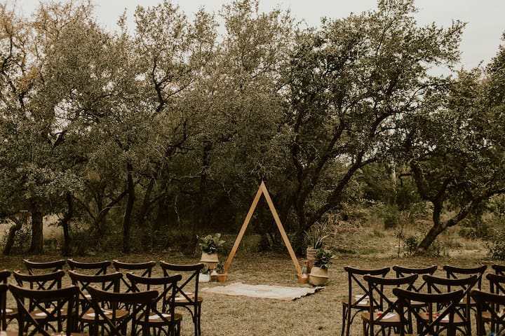 Small vow renewal ceremony hosted on the property