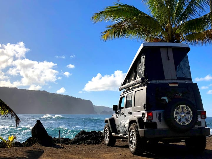 Maui's only Pop-Top 4x4 Jeep Camper (Silver)