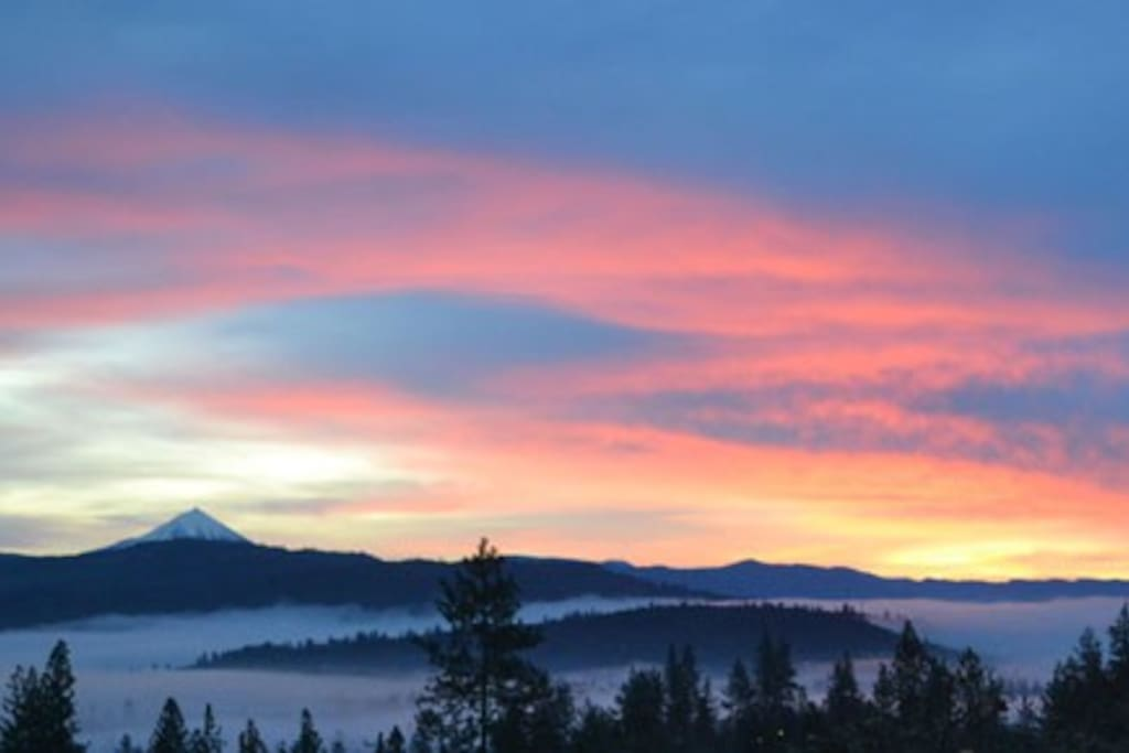 Sunrise view from the deck on a foggy morning.