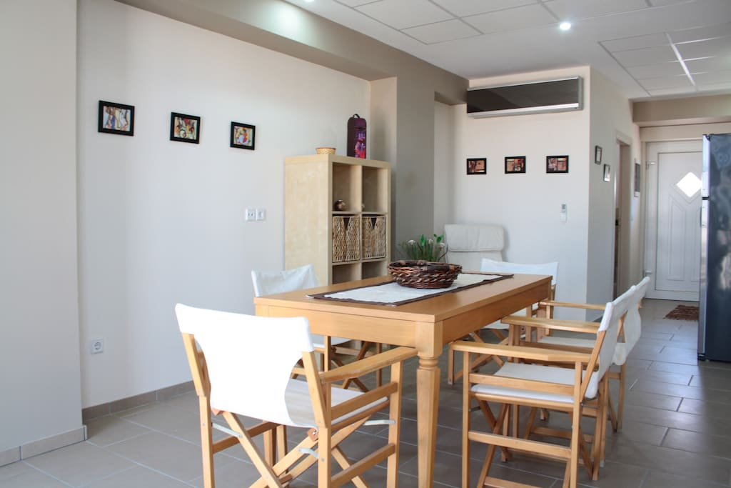 Six seater dining area with adjacent laundry facilities