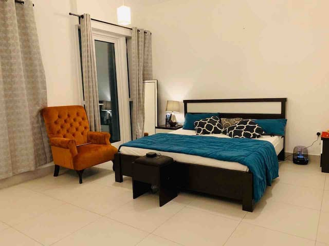 Furnished room with attached sea view balcony