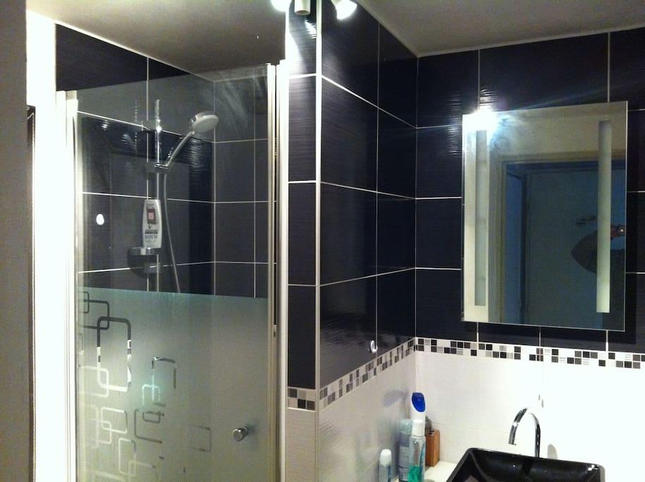 douche avec régulation dela température de l'eau