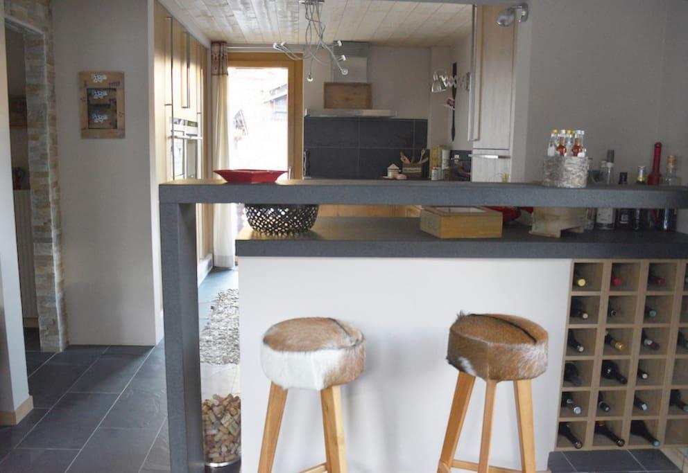 the bar + kitchen