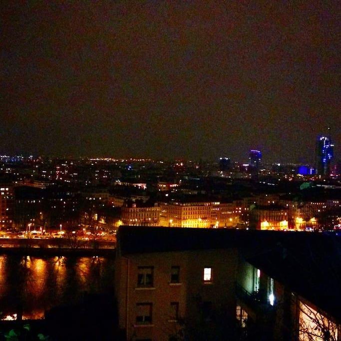 Lyon vu d'en haut à la fête des Lumières