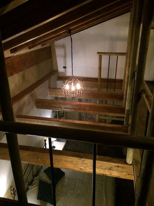 View from the loft with single bed and sitting area