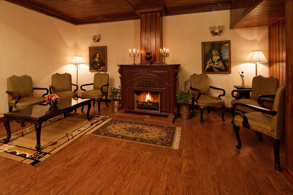 Expansive lobby with a fireplace