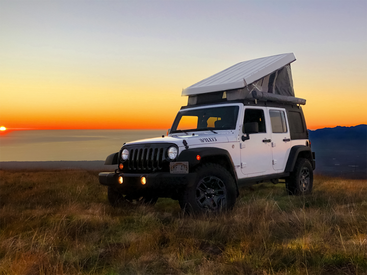 Maui's only Pop-Top 4x4 Jeep Camper (White)