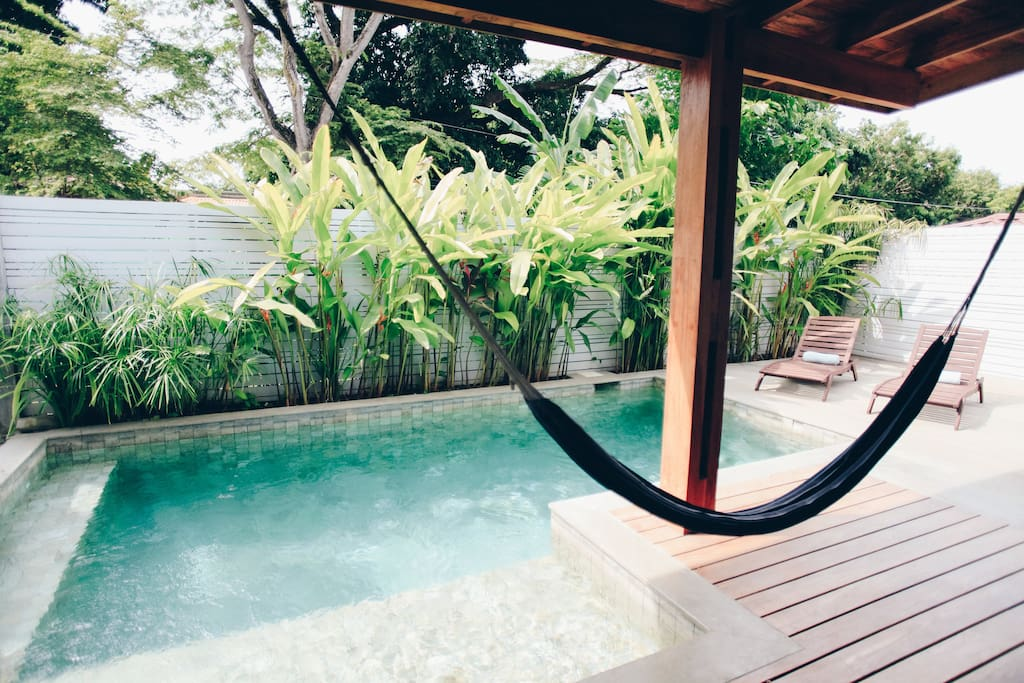 Private pool with a shallow part perfect for children