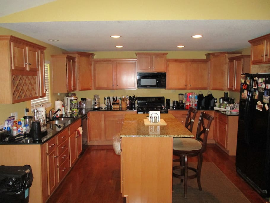 Fully stocked kitchen with every imaginable cooking device and utensil. Keurig coffee makers, complimentary coffee, tea, chai, k-cups, and bottled water.