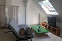 Wohnbereich mit TV und Schlafsofa - geeignet für 2 Personen