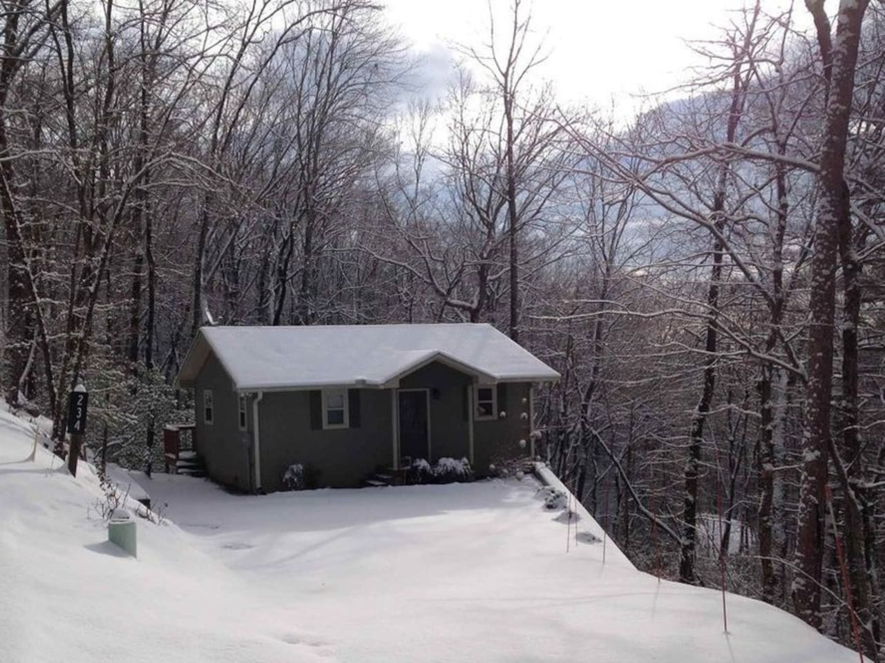 The cabin may look small, but has much to offer.  The seasonal mountain views make it magical!