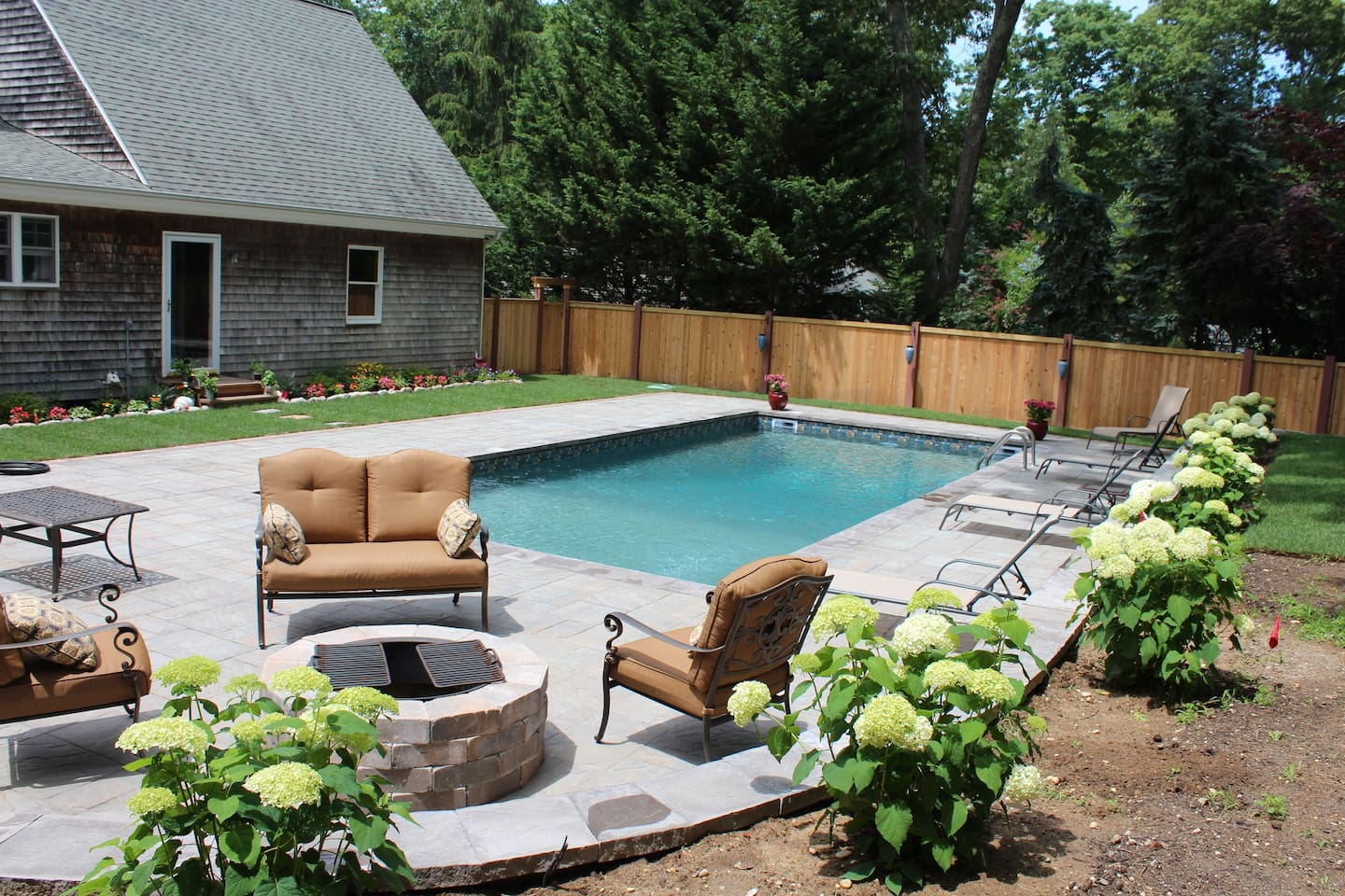 New salt water pool and fire pit