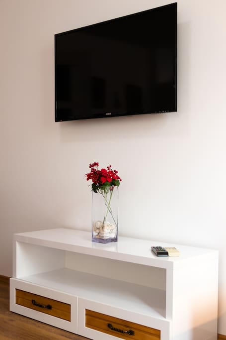 Smart TV and decorative detail.