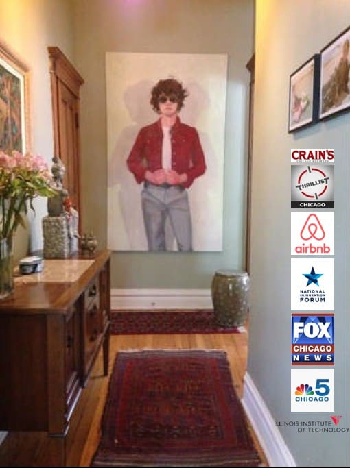 The foyer. Antique rugs and arresting art greets all my guests. This Airbnb listing has been featured in local and national spotlights.