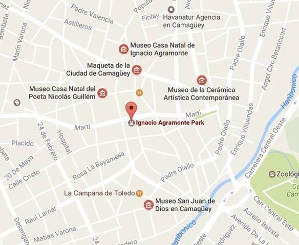We are just around the corner from the famous Ignacio Agramonte Park