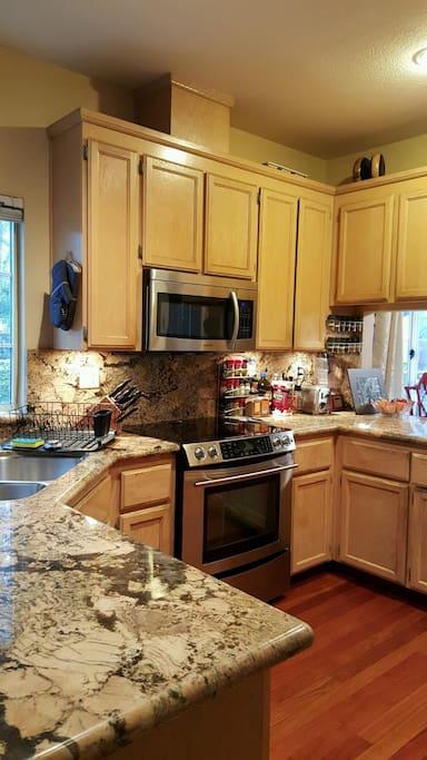 Gorgeous hardwood kitchen, marble countertop