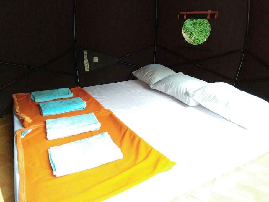 Inside the tent.. comfy bed, pillow, blanket & electricity is available