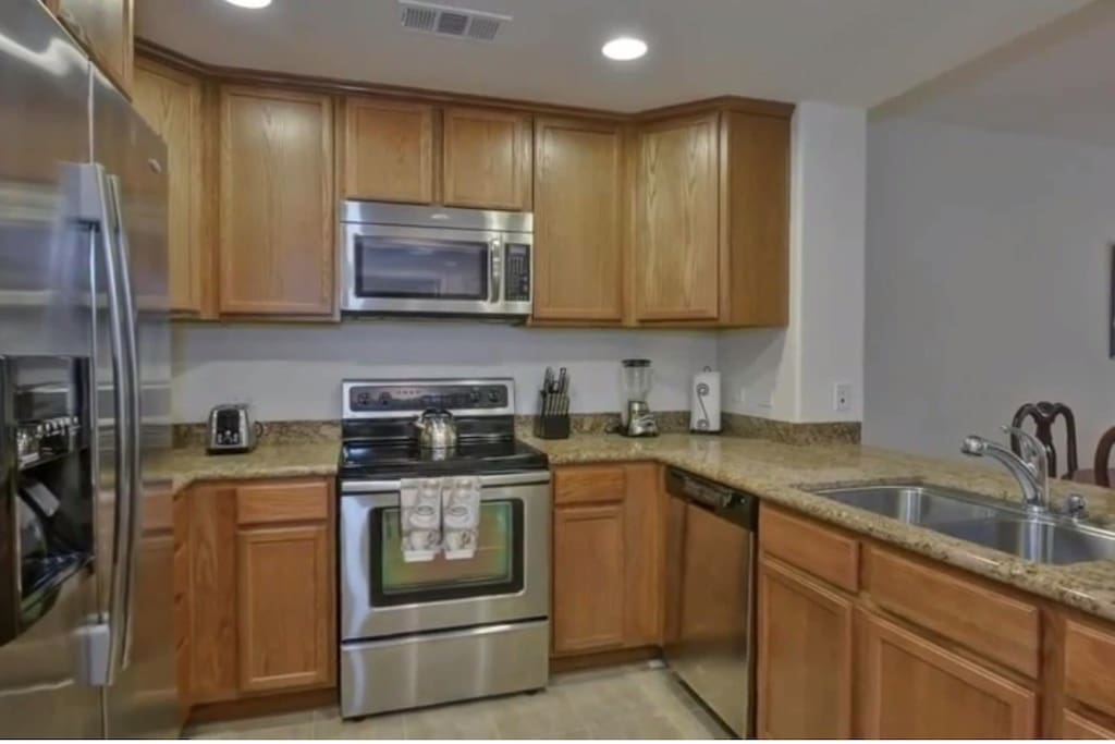 Stainless Steel appliances, marble counters
