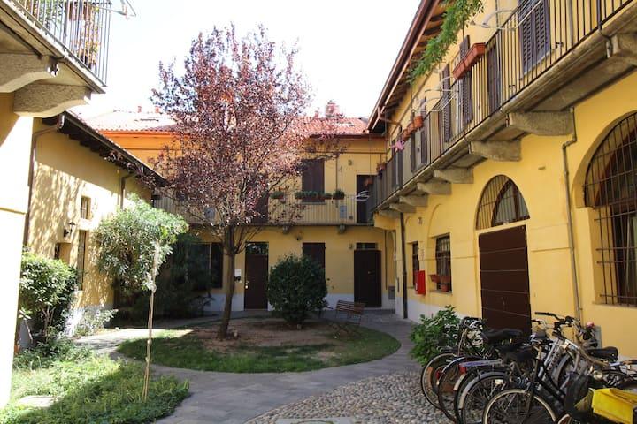 Typical Old Milano house style Navigli Darsena