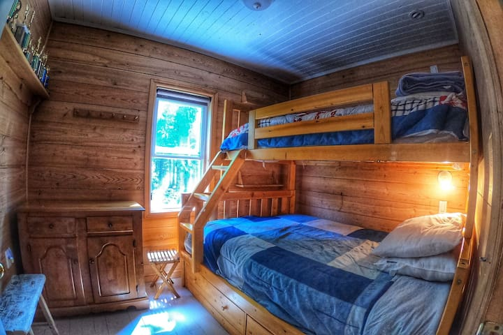 """COTTAGE #3 """"Main Cottage"""":  main floor bunk bed room (double on bottom and single on top)"""